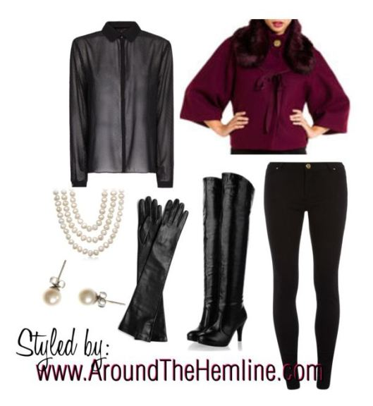 Black on Black Tahari Capelet - Polyvore