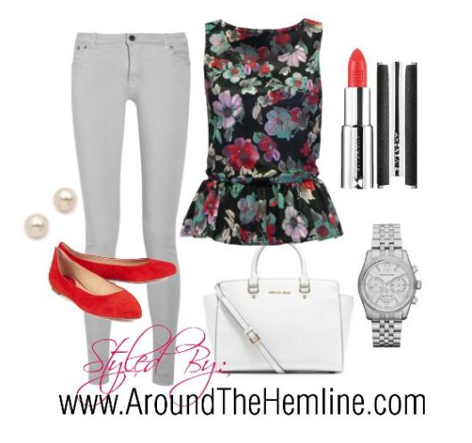 ATH - Floral Peplum Grey Jeans